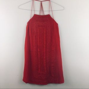 Alice&Olivia Red Short Dress Crochet embroider